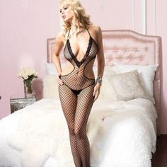 LACE TRIMMED INDUSTRIAL NET HALTER DEEP-V CUT OUT BODYSTOCKING