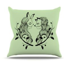 Kess InHouse Jaidyn Erickson Foxybuns Indoor/Outdoor Throw Pillow - JE1015AOP0