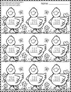 Easter Subtraction with Regrouping Color-by-Code Printables Math Activities, Teaching Resources, School Worksheets, 2nd Grade Math, Math For Kids, Addition And Subtraction, Elementary Math, Fractions, Teaching Tools