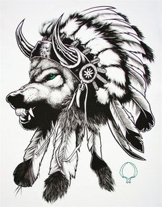 Wolf In An Indian Headdress Tattoo Quotmake It Simple But with regard to The Awesome and Lovely Indian Tattoo intended for Tattoo Art. I like it but not so angry, looking straight on, no horns and in color.Good concept though and beautiful artwork Wolf Tattoo Design, Indian Tattoo Design, Tattoo Designs, Native American Wolf, Native American Tattoos, Native Tattoos, Indian Headdress Tattoo, Wolf Headdress, Indian Feather Tattoos