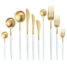 White Gold Cutlery Set Western Stainless Steel Tableware Home Spoon Fork Knife Chopsticks Kit Dinnerware Sets tableware Gold Cutlery, Flatware Set, Titanium Metal, Stainless Steel Cutlery, Dessert Spoons, Ceramic Tableware, Chopsticks, Home, Colors