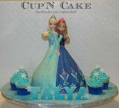 """Frozen cake.. """"Sisters""""!! I'm not a *huge* fan of the dolls-in-the-cake idea, but this was too cute not to share!!"""