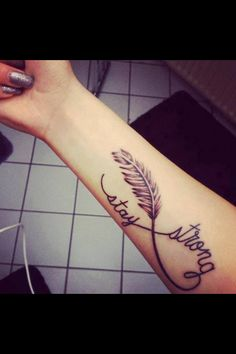 Feathers and infinity::: (faith and strength) birds flying from the feather. 1st tat   Faith, determined, strength, ambitious, believe, dreamer