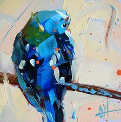 Blue Parakeet no. 6 original bird oil painting Angela Moulton