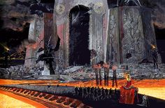 The Wargate, Wayne Barlowe. A massive procession snakes away from the second largest structure in Hell. Situated on the edge of a great lake of lava on the outskirts of Dis, the Wargate's only rival in sheer scale is Beelzebub's Keep itself. Built to commemorate those lost in the War with Heaven it also serves as the headquarters for Dis' military. From Barlow's Inferno. waynebarlowe.com