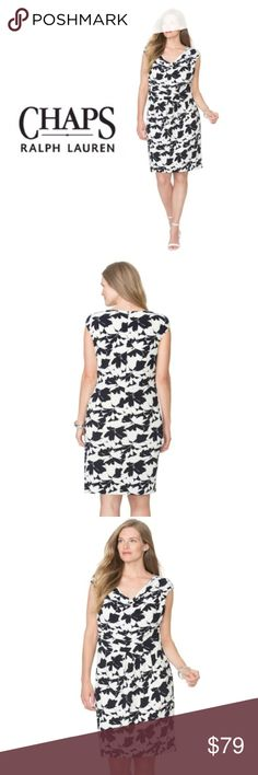 """Chaps Plus Size Sz 18W Dress  Black White Surplice Eye catching and elegant. You'll love the graceful glamour of this women's Floral dress from Chaps in Black/White.  Floral Print. Draped & Pleated details. draped neck line. Cap sleeves. Stretchy Jersey construction. Slip-On Style. Upper Bodice Lined. Polyester/Elastane. Sizes: 18 W ( Underarm to underarm 24"""", approx. 22"""" waist and 43"""" length) Brand new with tags. Chaps Dresses"""