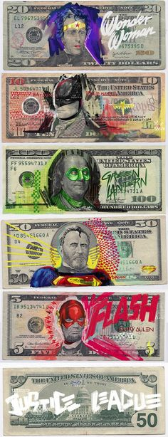 Berlin-based artist Aslan Malik took over the US Mint for the Justice League to create a series of portraits on US dollars.