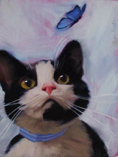"""""""Cat and Butterfly"""" Original oil painting, 8"""" x 6,""""  by Diane Hoeptner"""
