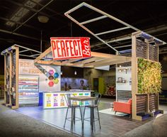Like many of our growing clients, Perfect Bar came to us having outgrown their self-built exhibit. They wanted to make a splash at the 2016 Natural Product Expo West (NPEW) show, and turned to us to make that goal a reality for their new activation space. Exhibition Stall, Exhibition Booth Design, Exhibition Display, Exhibit Design, Stand Design, Display Design, Temporary Structures, Show Booth, Trade Show