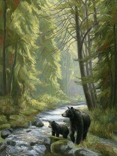 black bear sow & cub ~ By the Stream by Lucie Bilodeau