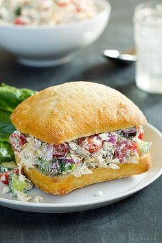 I love chicken salad sandwiches! Greek Chicken Salad Sandwich is like chicken salad sandwich with a twist. Salad Sandwich, Soup And Sandwich, Sandwich Recipes, Lunch Recipes, Cooking Recipes, Healthy Recipes, Chicken Sandwich, Think Food, Love Food