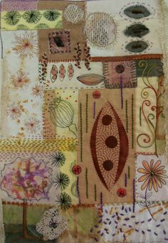 From the Seed by Dianne Cahill  Fabric Collage piece incorporating hand stitching