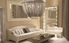 Glitz and glamour can be rolled into one with this exciting style; decadence and luxury prevail along with the use of reflective surfaces and fabrics which provide more than a mere covering for furnishings and window dressings.