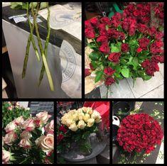 14.2.18 Snittet rundt 190 stk roser og 30 stk grenroser. Lange snitt, varmt- lunka vann, satt i spiral i bøtter og vaser