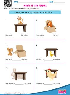 Where is the Animal Where is the Animal,Teaching English Free printable prepositions for kindergarten that allow your kids or students to form a sentence with suitable prepositions in given blanks. English Worksheets For Kindergarten, English Grammar Worksheets, 1st Grade Worksheets, Phonics Worksheets, English Activities, Activities For Kids, Comprehension Worksheets, Reading Worksheets, Printable Worksheets