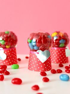 I decided to get a little head start on Valentine gifting, and HOW CUTE are these mini candy dispensers? They may be only 3 tall, but still pack in a to Valentines Day Party, Valentine Day Crafts, Diy Valentine's Day Candy, Candy Dispenser, Art Diy, Valentine's Day Diy, Mason Jar Crafts, Craft Stores, Carrie