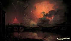 Firework Display At Castel Sant'angelo Artwork by Joseph Wright of Derby Hand-painted and Art Prints on canvas for sale,you can custom the size and frame
