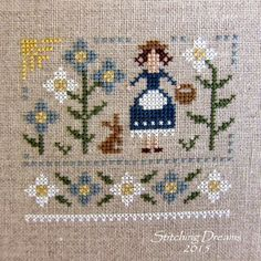 """April 2015 issue of """"Just Cross Stitch Magazine"""". It is called """"Primrose Maiden"""" and is designed by The Little Stitcher Cross Stitch Boards, Just Cross Stitch, Modern Cross Stitch Patterns, Cross Stitch Designs, Cross Stitching, Cross Stitch Embroidery, Cross Stitch Magazines, Border Pattern, Fabric Yarn"""