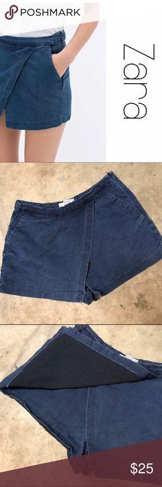 "Zara Trafaluc Stretch Denim Short Shorts 6 Super cute faux wrap denim skort shorts.  Pockets and side zip.  Size 6.  Length is 12"" from waist to hem. B6 Zara Shorts"