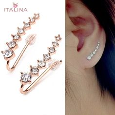 win Italina Rhinestone Crystal Ear Cuff Earrings Rose Gold Plated: Vendor: BG-US-Jewelry-and-Watch Type: Women Jewelry Price:… Ear Jewelry, Cute Jewelry, Jewellery, Cuff Earrings, Diamond Earrings, Crystal Earrings, Jóias Body Chains, Ear Cuffs Online, Creole Argent