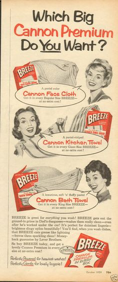 1959 Breeze Laundry Detergent w Cannon Premium Magazine Ad.  This is where my mom got most of our towels!