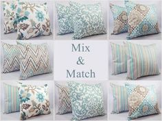 Decorative Pillow Cover  Spa Blue and Brown by CastawayCoveDecor...Floral and stripes