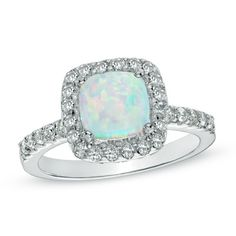 7.0mm Cushion-Cut Lab-Created Opal and White Sapphire Ring in Sterling Silver - Size 7