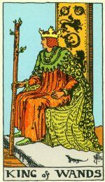 When the King of Wands comes up in a reading, it may mean that growth is needed.  The King of Wands is about taking the personal power we possess and using it to achieve what is necessary.