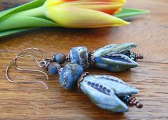 Earrings Everyday: New Shoots Rustic Ceramics, Blue And Copper, Shape And Form, Head Pins, How To Make Earrings, Ceramic Beads, Pantone Color, Lampwork Beads, Artisan