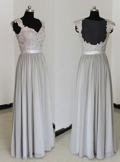 Simple Dress Long Beading Chiffon Prom Dresses, Bridesmaid Dresses, sliver bridesmaid dress, wedding party dress