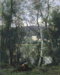A Woman Gathering Faggots at Ville-d'Avray  |  ca. 1871–74  |  Camille Corot (French)  |  Oil on canvas  | The Metropolitan Museum of Art