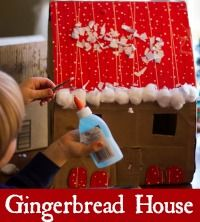Cardboard Gingerbread House - Montessori Mischief (love the cotton balls as snow)