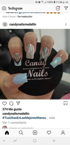 Cute Nails, Pretty Nails, Acrylic Nails, Nail Designs, Nail Art, Gold Nails, Gorgeous Nails, Make Up, Frases