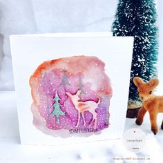 papierZART : Schneeflöckchen Weißröckchen wann kommst du geschneit... Weihnachtskarte, Bambi, Tannenwald, Alexandra Renke, aRTeam, Kartenbasteln