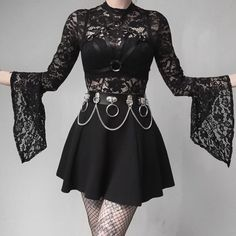 Imily Bela Sexy Lace Bodysuit Gothic Long Sleeve Flare Sleeve Backless – K Garrigan Gothic Outfits, Edgy Outfits, Mode Outfits, Grunge Outfits, Pretty Outfits, Fashion Outfits, Pastel Goth Outfits, Dark Fashion, Cute Fashion