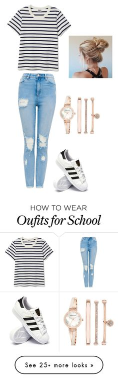 """""""School day"""" by emilypolak8 on Polyvore featuring adidas and Anne Klein"""