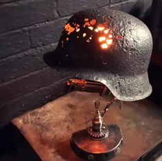 Lamp – Famous Last Words Cbx 250, Lampe Steampunk, Lampe Metal, German Helmet, Helmet Light, Aviation Decor, Industrial Lighting, Lamp Design, Metal Art