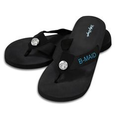 Fashioned with a grosgrain foot strap and foam rubber heel for comfort, these Bridesmaid flips flops are accented with a center rhinestone and customized with the word 'B-MAID' in an aqua thread color on both flip flops.