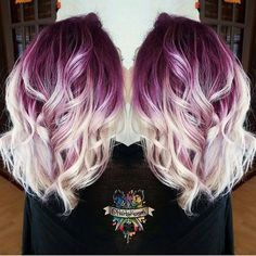 Plum purple hair color base with billowy white blonde hair by insta. - Purple Lavender Lilac Hair Nails and Makeup - Hair Color Plum Purple Hair, Lilac Hair, Blonde Hair Purple Roots, Purple Ombre, Ombre Colour, White Ombre, Pastel Hair, Blonde Hair With Color, Deep Burgundy Hair Color