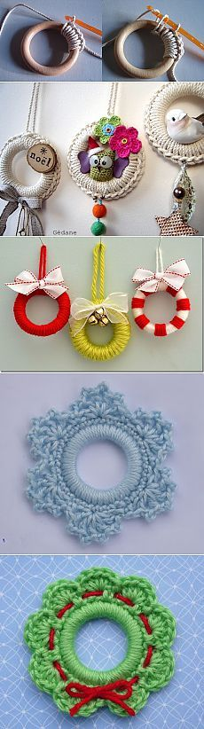 Crochet Patterns Christmas Crafts based on curtain rings their hands Crochet Christmas Decorations, Crochet Ornaments, Holiday Crochet, Crochet Home, Crochet Gifts, Cute Crochet, Yarn Crafts, Diy And Crafts, Christmas Crafts