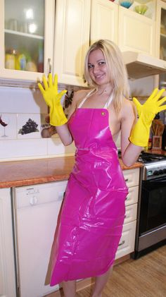 Royalty free stock photo c s woman in yellow rubber gloves 5 Pvc Apron, Apron Dress, Sexy Dresses, Dress Outfits, Summer Dresses, Plastic Aprons, Pvc Raincoat, Rubber Gloves, Rain Wear