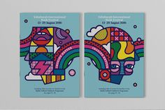 Illustrators Craig & Karl and design studio Tangent Graphic's psychedelic visual identity for Edinburgh Book Festival features brightly coloured heads