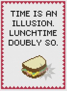 Hitchhiker's Guide Lunchtime quote cross stitch sampler pattern