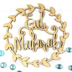 Eid Mubarak Wreath Wood Cutout Ramadan Decorations, Festival Decorations, Balloon Decorations, Eid Mubarik, Eid Ideas, Ramadan Crafts, Minimal Logo Design, Wood Cutouts, Doa