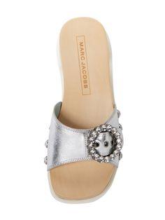Anita Metallic Leather Slip-On Sandal from Designer Shoes Under $299 on Gilt