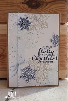 Magical Scrapworld: Flurry of wishes, Christmas card, Stampin' Up!, holly jolly greetings