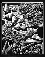 Linocut idea for class \Fruits and Veggies  \  Stephen Alcorn, printmaker