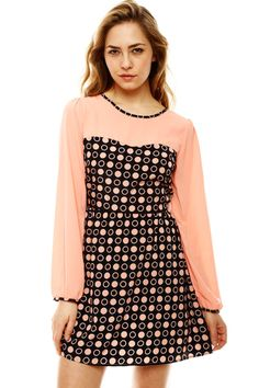 Adorable Peach & Black Dotted Bodice Dress Dress it up for wrk?