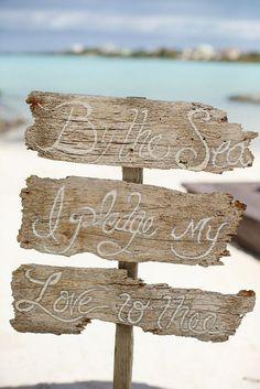 pretty beach themed wedding sign ideas