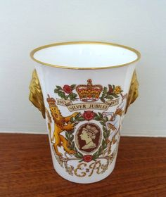 Queen Elizabeth 2nd Silver Jubilee 1952 - 1977 Bone China Cup / Beaker Limited Ed 428/2500 English Caverswall China Royal Commemorative